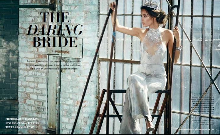 the Daring Bride metallic lace pantsuit by COCOE VOCI, featured in the Summer 2016 edition of California Wedding Day magazine